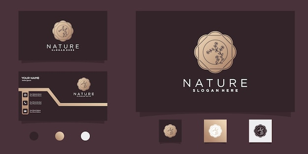 Flower logo with golden negative space modern style and business card desig premium vector