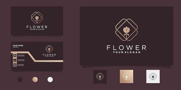 Цветочный логотип с штриховым рисунком в современном стиле и дизайном визитки premium vekto
