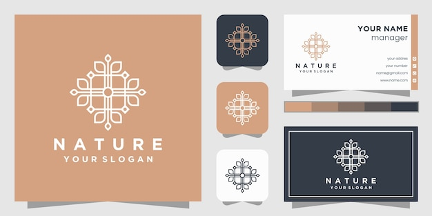 Цветочный логотип со стилем линии искусства и визитной карточкой