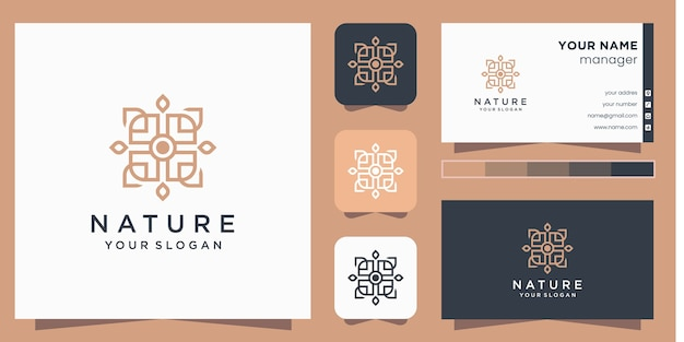 Flower logo  with line art style and business card