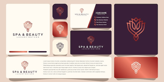 Flower logo  with line art style. logos can be used for spa beauty salon decoration boutique. and business card