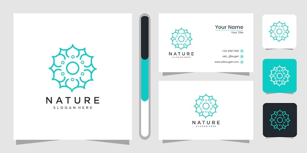 Flower logo with line art style. logos can be used for spa, beauty salon, decoration, boutique.