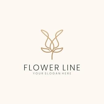 라인 아트 스타일의 꽃 로고