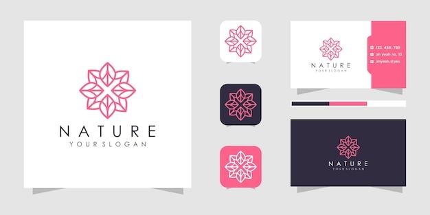 선 스타일의 꽃 로고. 로고 및 명함.