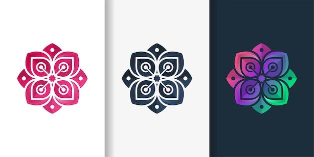 Цветочный логотип с современным стилем градиента цвета красоты и дизайном визитной карточки Premium векторы