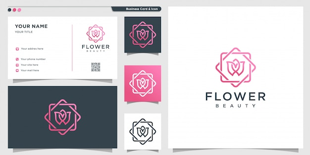 Flower logo with modern beauty concept and business card design template