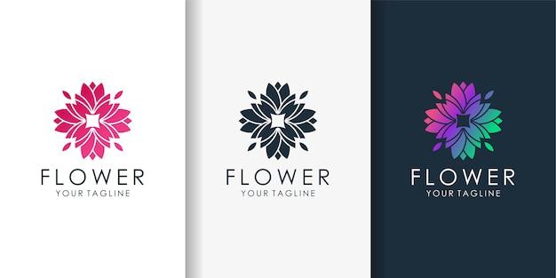 モダンなグラデーションスタイルと名刺デザインテンプレートと花のロゴ