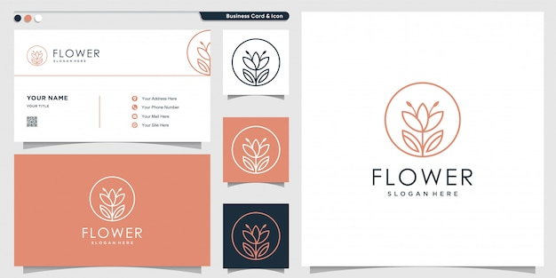 Flower logo with unique color shape and business card design template