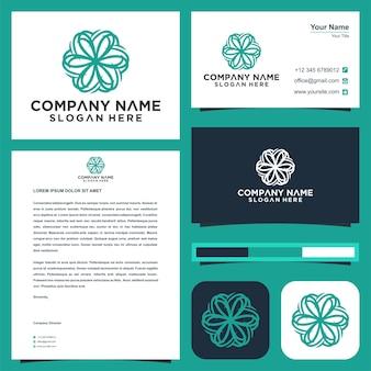 Дизайн логотипа цветок лотоса и визитка премиум