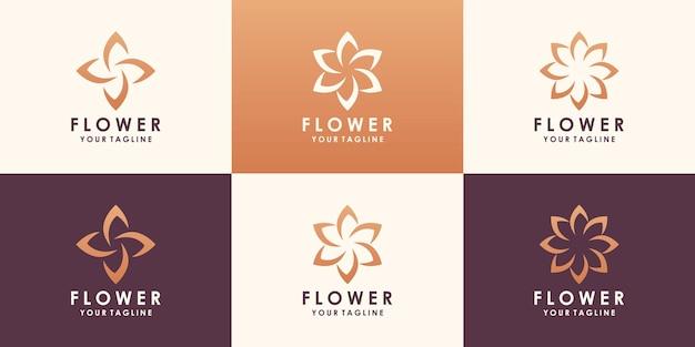 꽃 로터스 로고 디자인. 선형 보편적 인 잎 꽃 로고