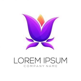 Flower lotus logo design vector