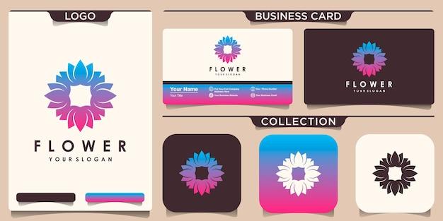 Цветок лотоса логотип с дизайном визитной карточки