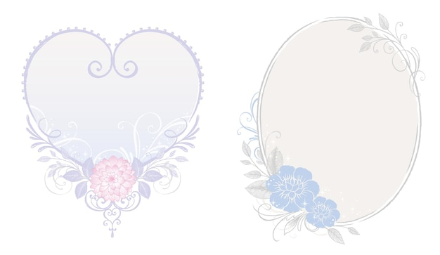 Flower and love frame illustration with princess theme design