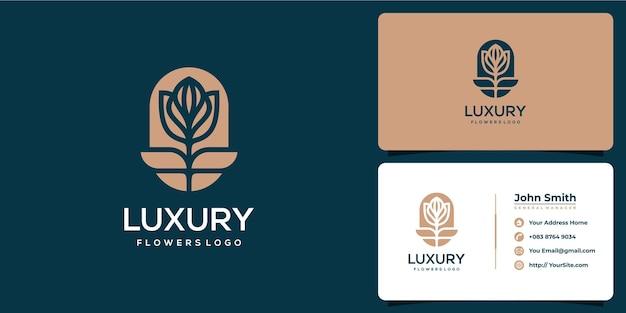 Flower luxurious logo design and business card