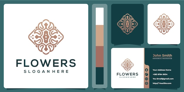 Flower luxury design with business card template