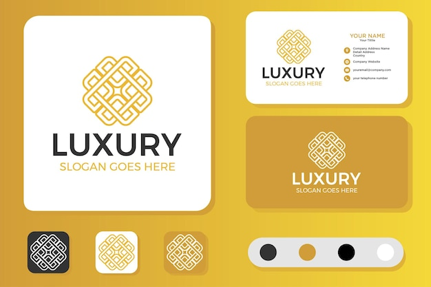 Flower luxury logo design and business card