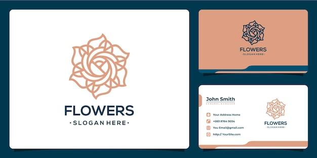 スパとサロンのための花の豪華なモノラインのロゴデザイン