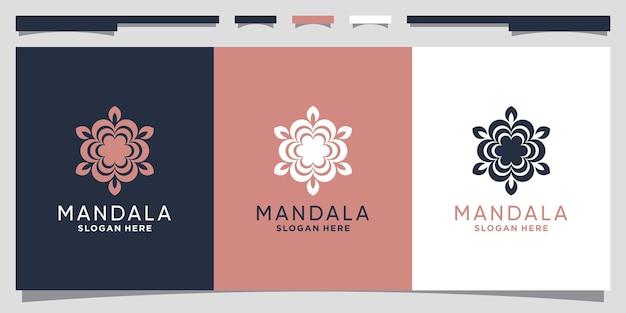 Цветочная мандала, дизайн логотипа, вдохновение с креативной простой концепцией premium векторы