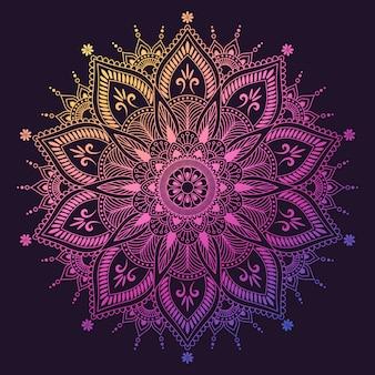꽃 만다라. 동양, 신비, 연금술 패턴. 삽화