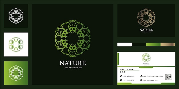 Flower mandala or ornament luxury logo template design with business card