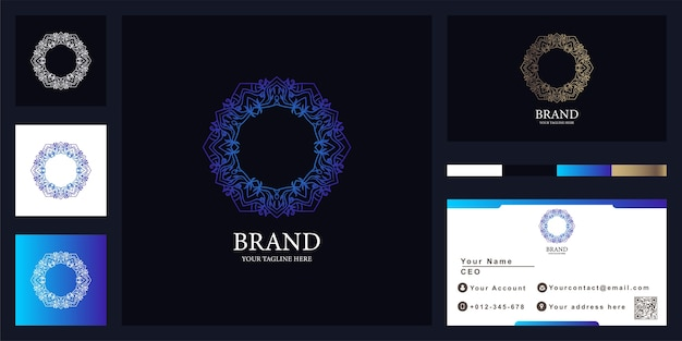 Flower, mandala or ornament luxury logo template design with business card.