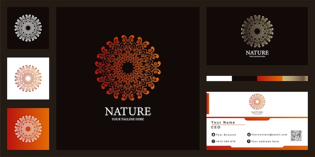 Flower, mandala or ornament luxury logo template  with business card.