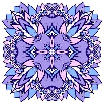 Flower mandala in soft purple.  illustration