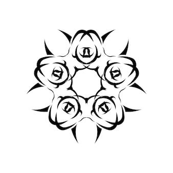 꽃 만다라. 빈티지 장식 요소입니다. 동양 패턴, 벡터 일러스트 레이 션입니다. 이슬람, 아랍어, 인도, 모로코, 중국, 신비주의, 오스만 모티브. 색칠 공부 페이지