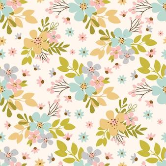 花の牧草地手描きフラットスタイル花の休日漫画シームレスなパターンテキスタイルプリントのベクトルイラスト