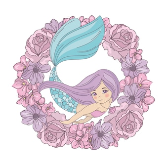 Flower mermaid floral wreath