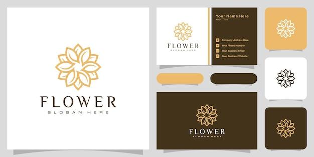 Flower mono line luxury logo with business card design