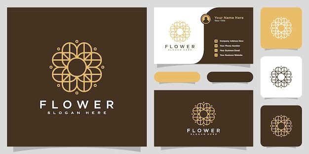 명함 디자인의 플라워 모노 라인 럭셔리 로고
