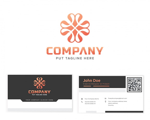 Flower monogram logo with stationery business card
