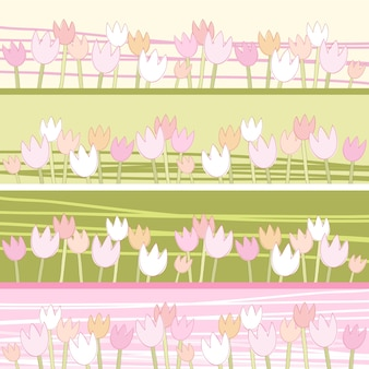 튤립의 꽃. 원활한 벡터 패턴입니다.