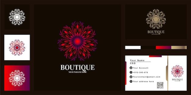 名刺と花や飾りの豪華なロゴのテンプレートデザイン。