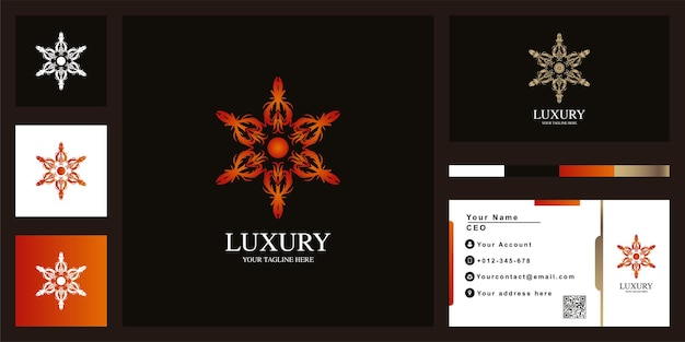 명함으로 꽃 또는 장식 럭셔리 로고 템플릿 디자인.