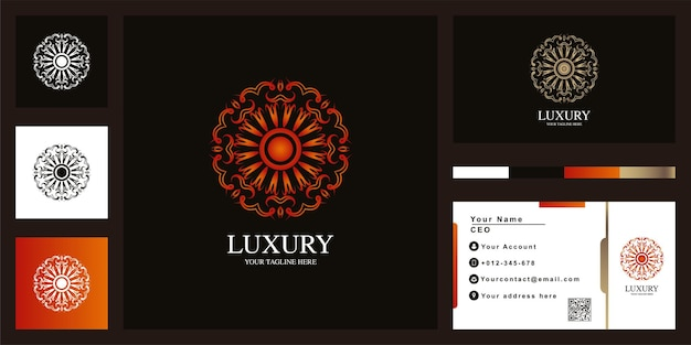 Дизайн шаблона логотипа роскошный цветок или орнамент с визитной карточкой.