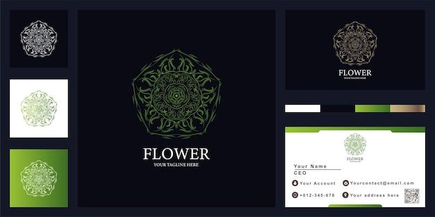名刺と花や飾りの豪華なロゴのテンプレートデザイン