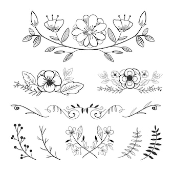 Flower ornament arrangement collection set in hand drawn style with laurels and leaves.