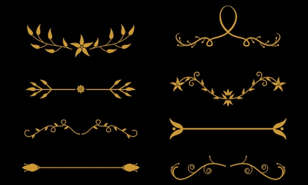 Flower ornament dividers. floral ornamental divider and sketch leaves ornaments