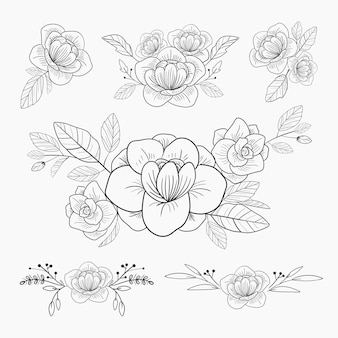 Flower ornament drawing for wedding invitation card and decoration.
