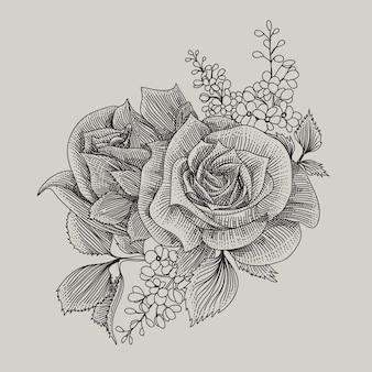 꽃 장식 손으로 그린 그림