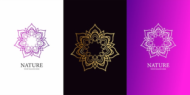 花、飾りまたは曼荼羅のロゴのテンプレートデザイン。耳鼻咽喉科のロゴテンプレートデザイン。