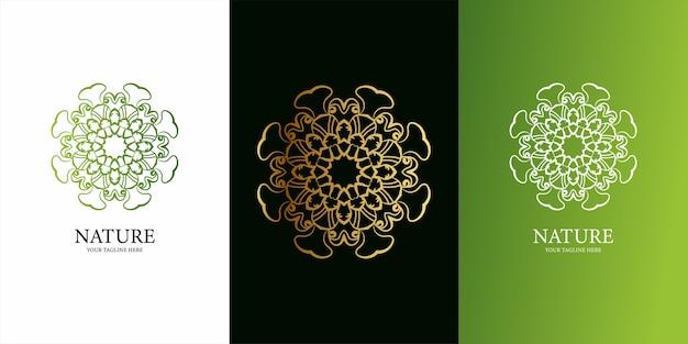花飾りまたは曼荼羅のロゴテンプレートデザインentロゴテンプレートデザイン