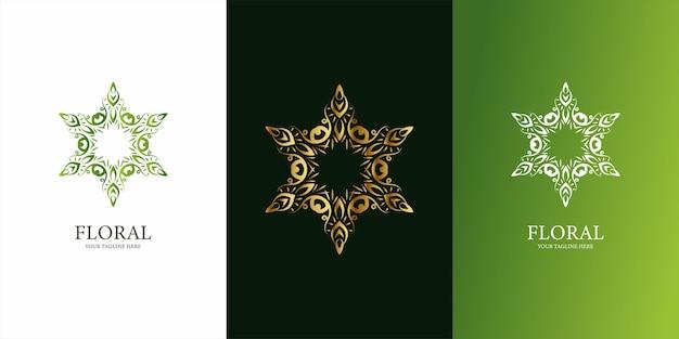 花、飾りまたは曼荼羅のロゴのテンプレートデザイン。