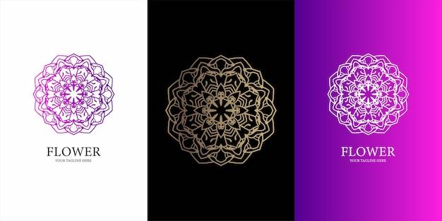 花、飾りまたは曼荼羅のロゴのテンプレート。