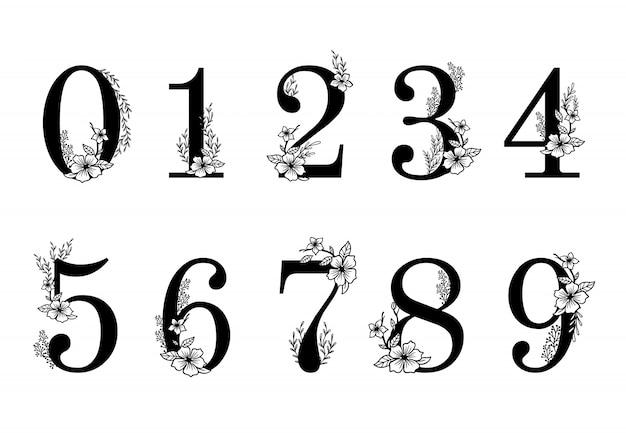 Flower ornate numbers. elegant blossom number, floral sprigs date and numeric monogram illustration set