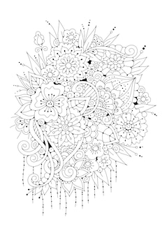 花のページの塗り絵。黒と白のイラスト。