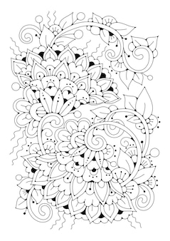 Цветочная книжка-раскраска. черно-белый фон для рисования.