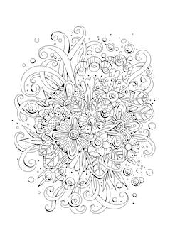 着色のための花のページ。黒白の背景。